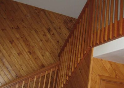 Interior knotty pine walls