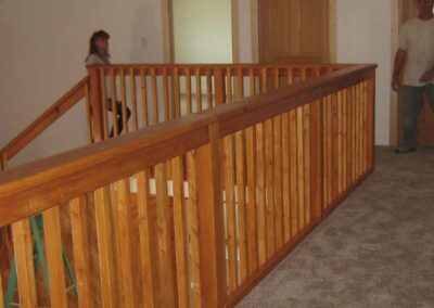 Custom wood stair railing