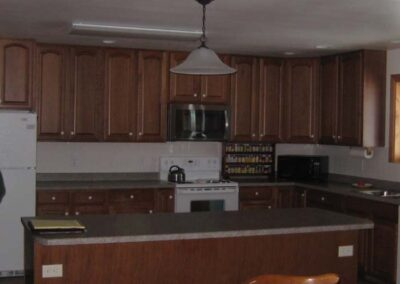 Custom kitchen cabinets with solid countertops